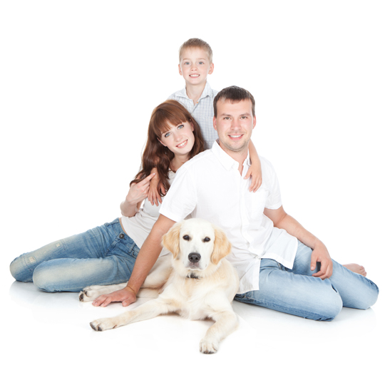"""family with dog"""